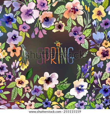 Vector illustration for Woman's Day and different holidays. Cute summer and spring card. Floral pattern with watercolor flowers on the blurred background. Isolated pansy on wreath, garland - stock vector