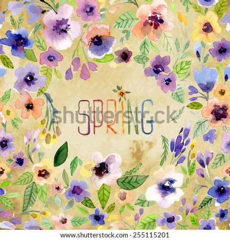 Vector illustration for Woman's Day and different holidays. Cute summer and spring card. Floral pattern with watercolor flowers on the vintage background. Isolated pansy on wreath, garland - stock vector