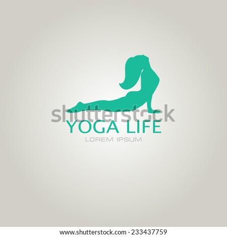 Vector illustration for your company logo. Yoga sign. Girl in yoga pose cobra - stock vector