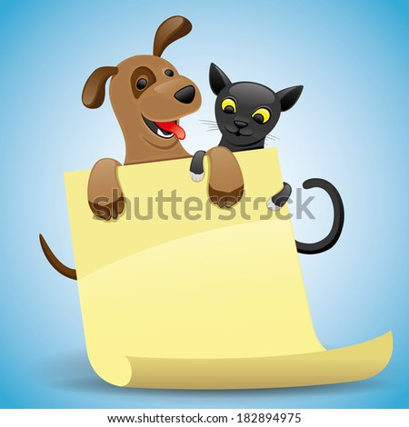 Vector illustration for your text. Cat and dog. - stock vector