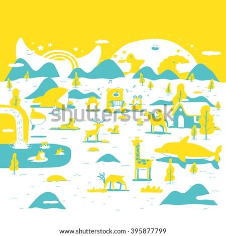Vector illustration : Forest concert  - stock vector