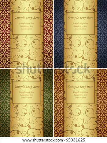 Vector illustration. Four gold background with pattern. - stock vector