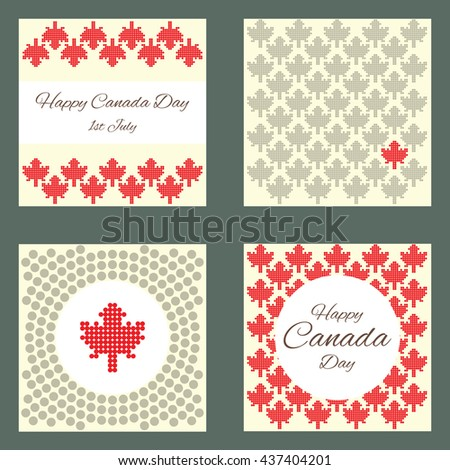 vector illustration / four greeting cards layouts for Canada Day / circle design with maple leaves for greeting card in traditional red and white colors - stock vector
