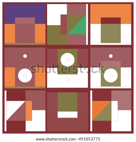 Vector illustration fractal block and circle. Material design template and background for poster and publication