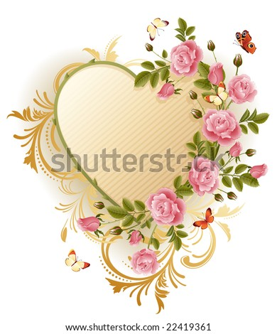 Vector illustration - Frame in the Victorian style, with roses and butterflies - stock vector