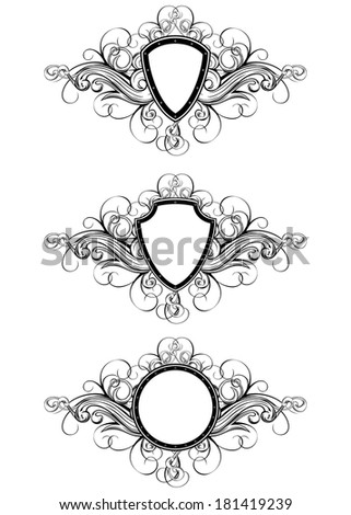 Vector illustration frame with patterns set - stock vector