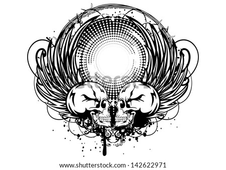 Vector illustration frame with skulls, wings and barbed wire - stock vector
