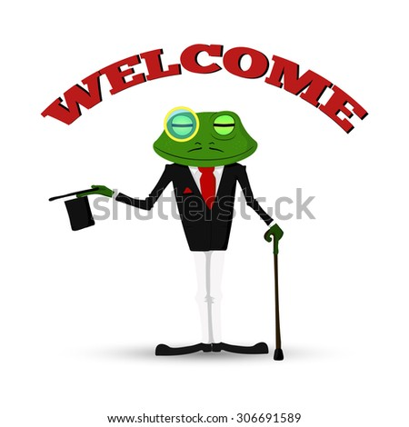 vector illustration, frog in a suit and hat