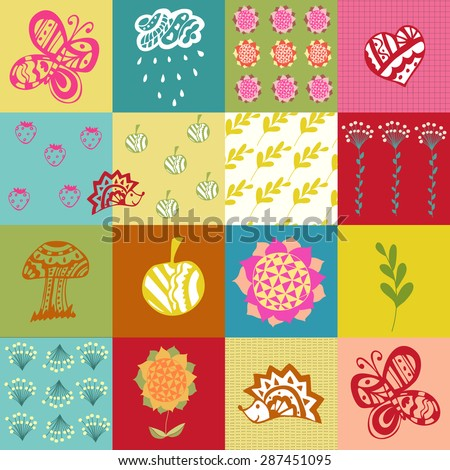 Vector illustration from children's pictures and patterns. Scrapbooking.It can be used as a seamless pattern, wrapping paper, wallpaper in baby room, background. - stock vector