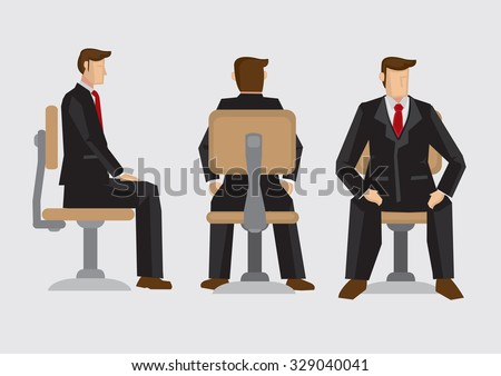 Vector illustration front, back and side view of business professional wearing formal three-piece suit sitting on office swivel chair isolated on plain background. - stock vector