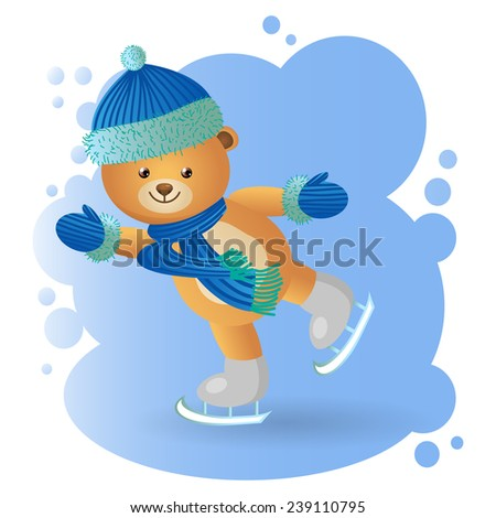 Vector, illustration, funny animal bear wearing a hat, scarf, mittens, skating rolls on the blue ice