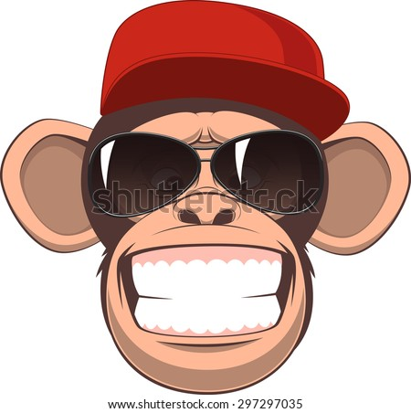 Vector illustration, funny chimpanzee in a baseball cap and glasses smiling - stock vector