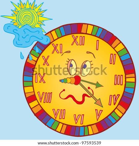 Vector illustration, funny clock for children, card concept. - stock vector