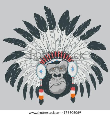 vector illustration: funny gorilla - stock vector