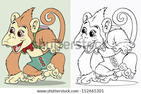 stock-vector-vector-illustration-funny-monkey-going-to-school-cartoon ...