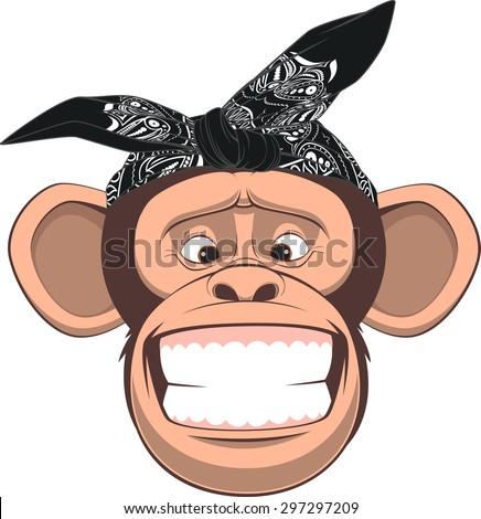 Vector illustration, funny monkey in bandana on white background - stock vector