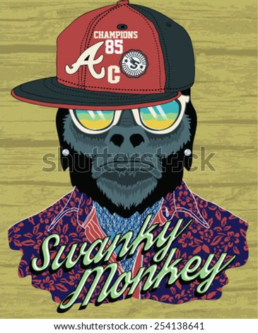 Vector illustration, funny monkey with glasses - stock vector