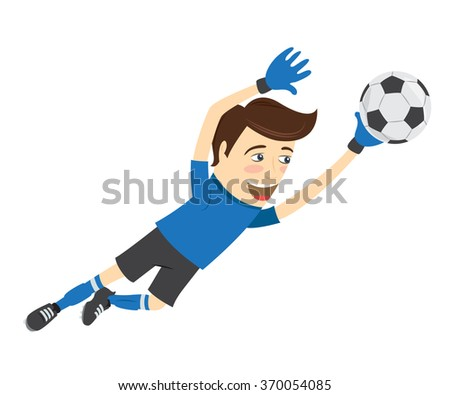 Vector illustration Funny soccer football player goalkeeper wearing blue t-shirt jumping for ball