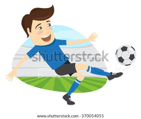 Vector illustration Funny soccer football player wearing blue t-shirt running kicking a ball and smiling on stadium - stock vector