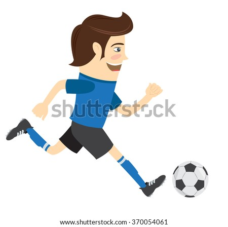 Vector illustration Funny soccer football player wearing blue t-shirt running kicking a ball and smiling
