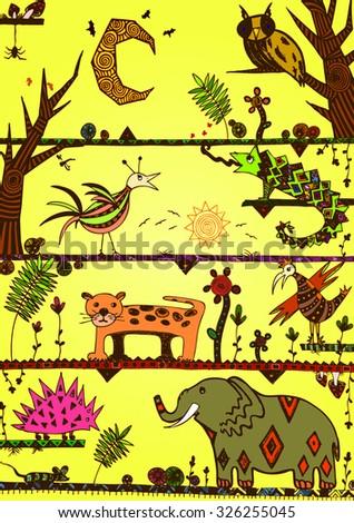 Vector illustration, funny wildlife idea in vivid tones, card concept. - stock vector