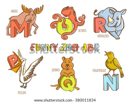 vector illustration funny zoo animals kids stock vector 380011834