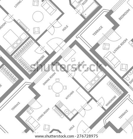 Vector illustration. Furniture architect plan background. Flat Design - stock vector