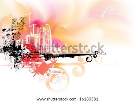 Vector illustration - Futuristic looking, watercolor grunge urban background. - stock vector