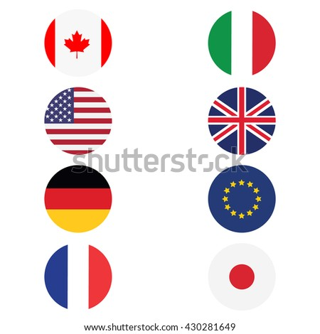 Vector illustration g8 countries round flags. Canada, Germany, France, Japan, United Kingdom of Great Britain, EU, Italy and United States. Icon flat design - stock vector