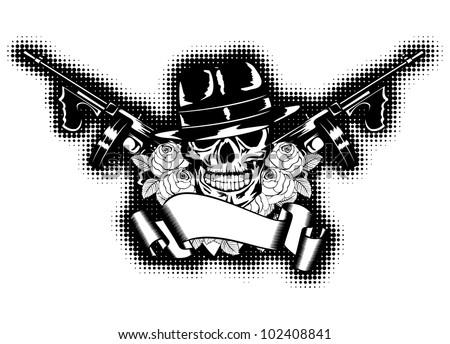Vector illustration gangster, roses, submachine gun and banner - stock vector