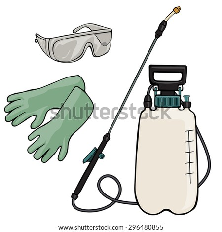 Vector illustration, garden sprayer, cartoon concept, white background.