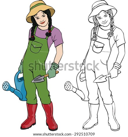 Vector illustration, gardener girl, coloring drawing, card concept, white background.