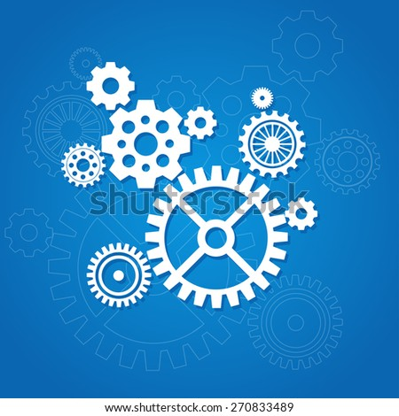Vector illustration gear background isolated on a blue. Flat Design - stock vector