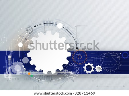 Vector illustration gear wheel and circuit board, Hi-tech digital technology and engineering, digital telecom technology concept. Abstract futuristic on light gray color background - stock vector