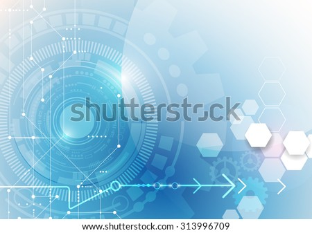 Vector illustration gear wheel, eye ball, hexagons and circuit board, Hi-tech digital technology and engineering, digital telecom technology concept. Abstract futuristic on light blue color background - stock vector