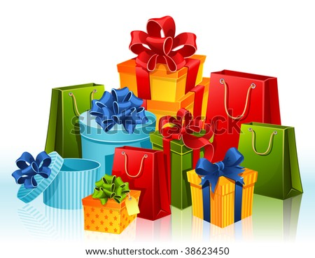 Vector illustration - gift boxes and shopping bags - stock vector