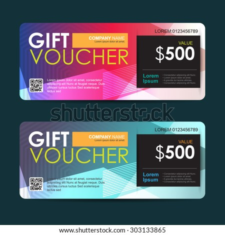 Vector illustration, Gift voucher template with abstract colorful pattern,gift voucher certificate coupon design template - stock vector