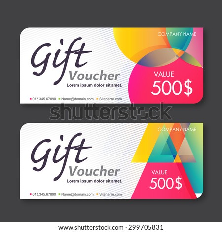 Vector illustration,Gift voucher template with colorful pattern. - stock vector