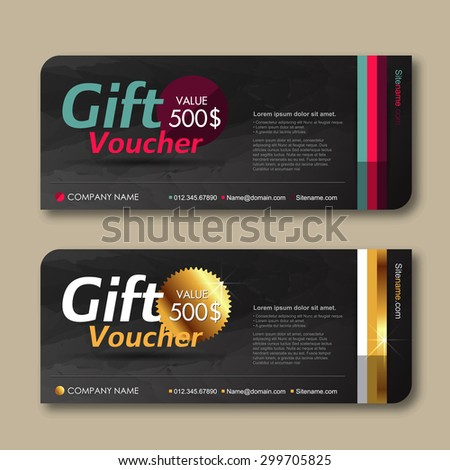 Vector illustration,Gift voucher template with premium pattern. - stock vector