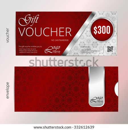 Vector illustration,Gift voucher template with vintage ornament pattern. Gift voucher certificate coupon design template. - stock vector