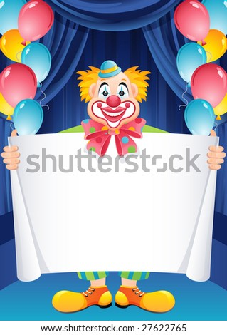 Vector illustration - ginger clown - stock vector