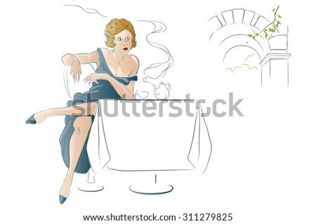 Vector illustration - Girl drinks tea at a cafe table. - stock vector