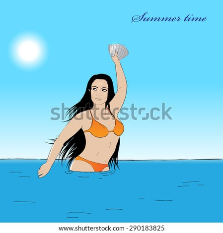 Vector illustration girl in water with a shell - stock vector