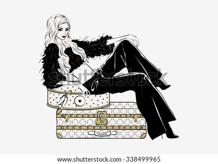 Vector illustration girl on white background - stock vector