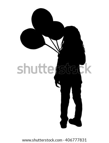 vector illustration - girl with 3 balloons - silhouette - stock vector