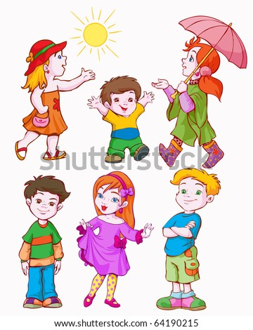 vector illustration, girls and boys, cartoon concept, white background - stock vector