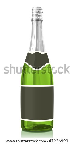 Vector illustration glass bottle classical Champagne wine with black label. Serie of images. You can find many various types of realistic vector illustrations of wine bottles in my portfolio.
