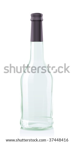Vector illustration glass Bottle Cognac or Brandy. Serie of images. You can find many various types of realistic vector illustrations of wine bottles in my portfolio