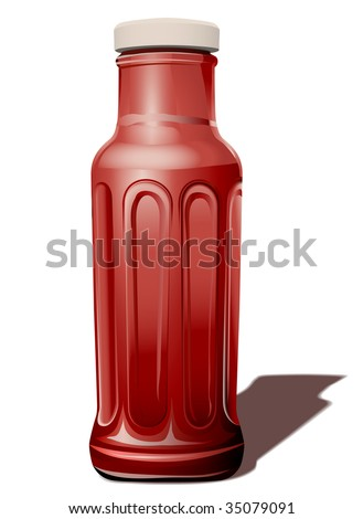 Vector illustration Glass Bottle for a tomato sauce - stock vector