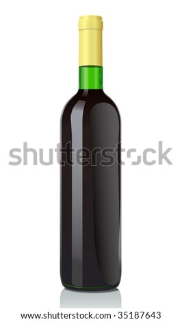 Vector illustration glass bottle with red wine. Classical Bordosky style.The closed version (serie of images) - stock vector